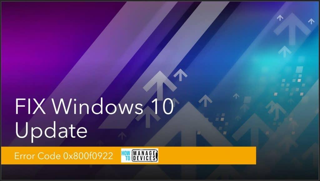Windows 10 Error Code 0x800f0922