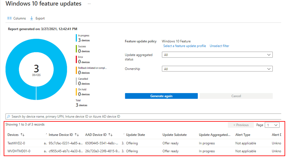 Windows 10 Feature Update Intune Report | Endpoint Manager