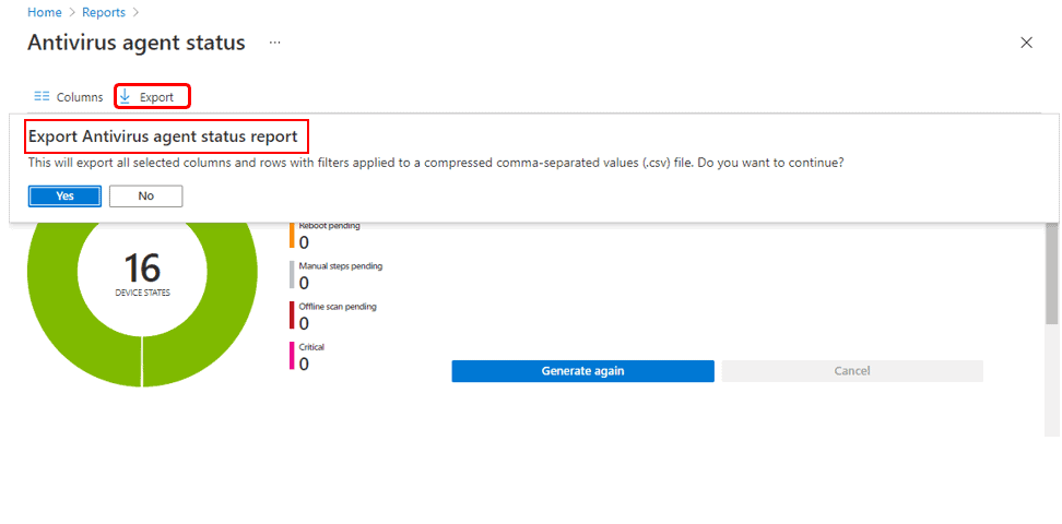 Antivirus Agent Status Intune Report | Endpoint Manager