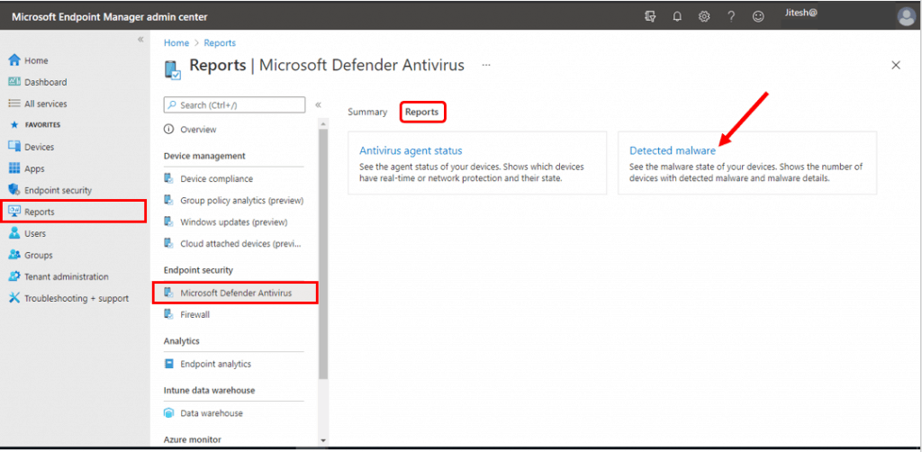 Detected Malware Intune Report | Endpoint Manager