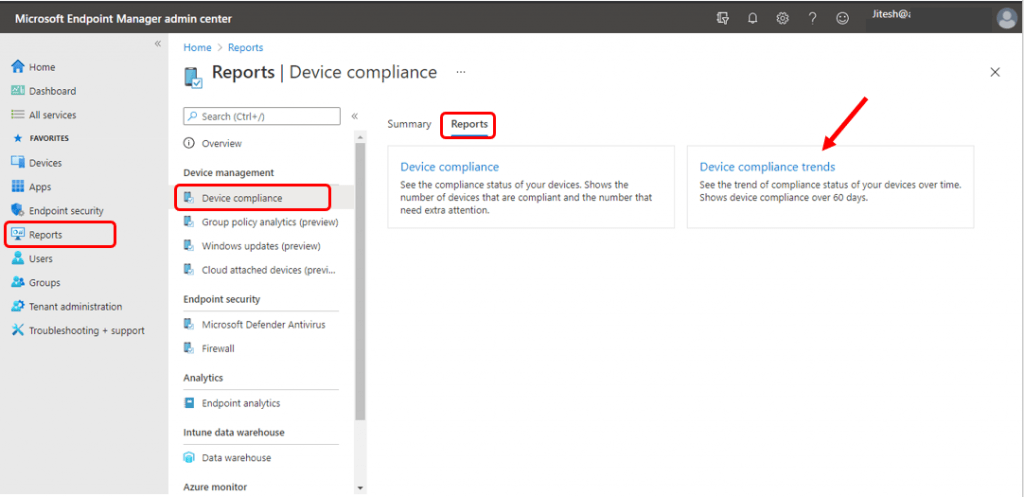 Intune Device Compliance Trend Report | Endpoint Manager