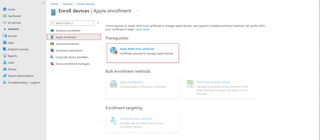 Intune Enrollment Setup for iOS macOS Devices