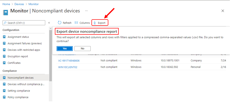 Intune Noncompliant Devices Report | Endpoint Manager