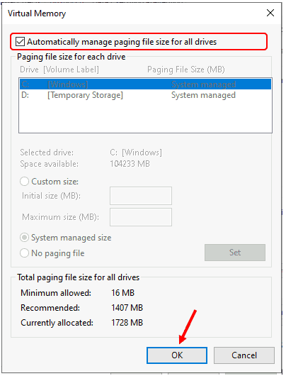How to Manage Virtual Memory Page File Size in Windows 10