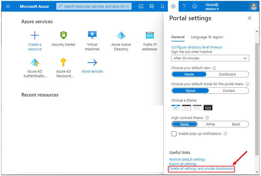 Delete User Settings and Dashboards - Azure Portal Settings and Preferences Walkthrough