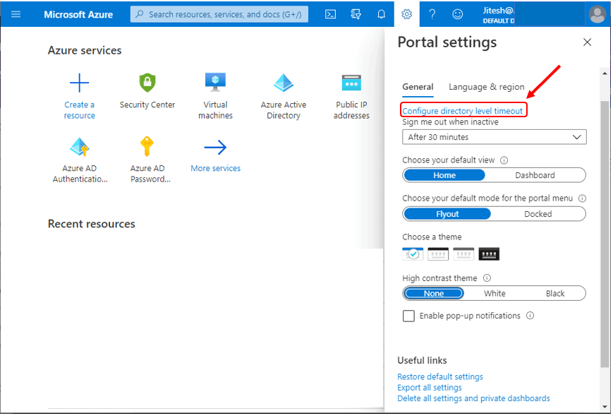 Change the directory timeout setting (admin) - Azure Portal Settings and Preferences Walkthrough