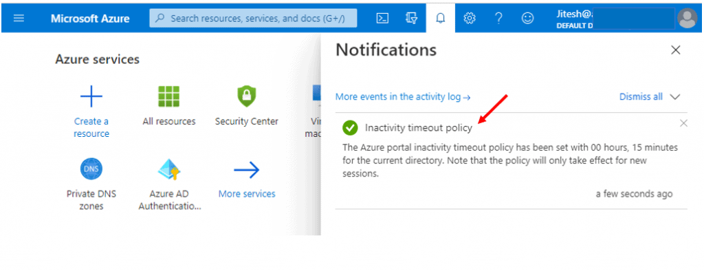 Configured inactivity timeout policy - Azure Portal Settings and Preferences Walkthrough