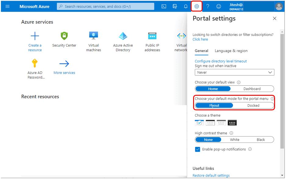 Choose Default Mode - Azure Portal Settings and Preferences Walkthrough