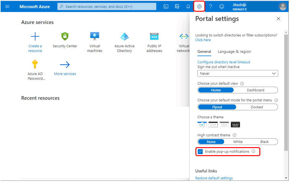 Enable or Disable pop-up notifications - Azure Portal Settings and Preferences Walkthrough