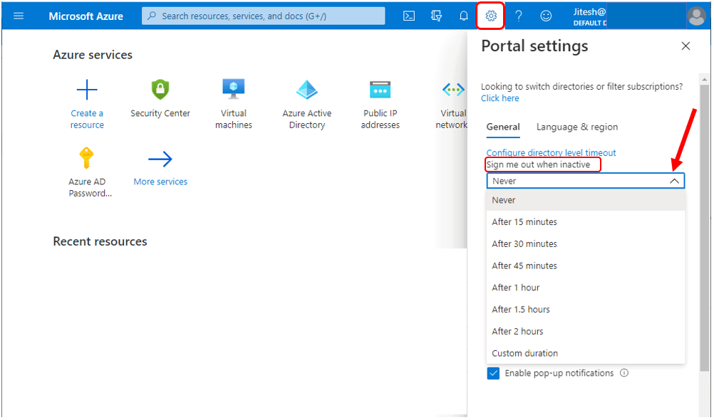 Change your individual timeout setting (user) - Azure Portal Settings and Preferences Walkthrough