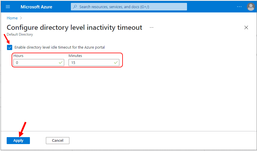 Configure directory level inactivity timeout - Azure Portal Settings and Preferences Walkthrough