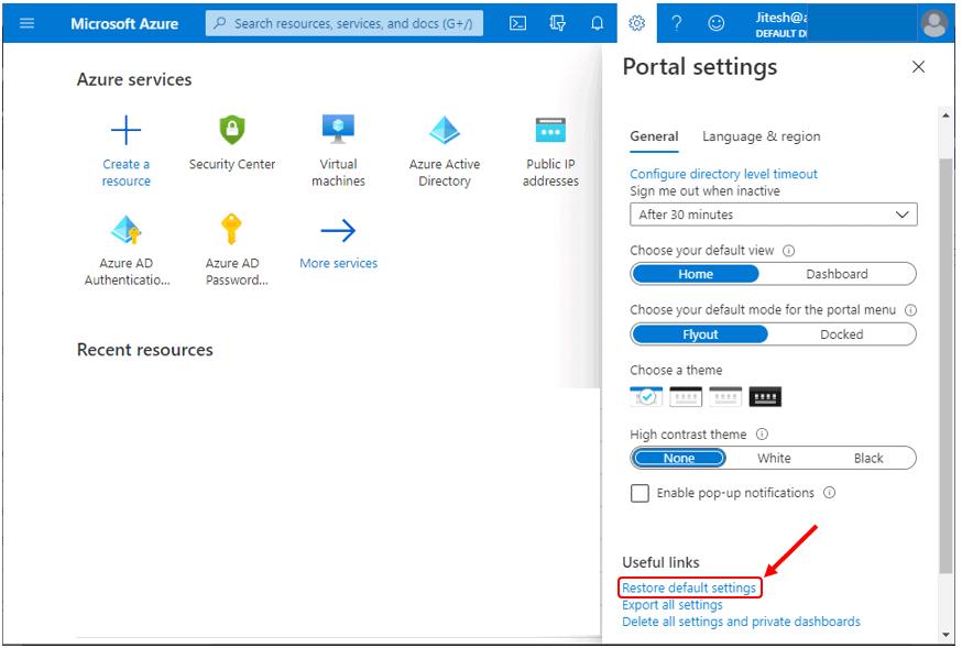 Restore default settings - Azure Portal Settings and Preferences Walkthrough
