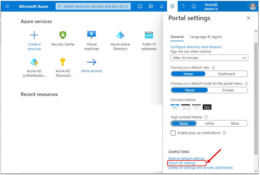 Export all settings - Azure Portal Settings and Preferences Walkthrough