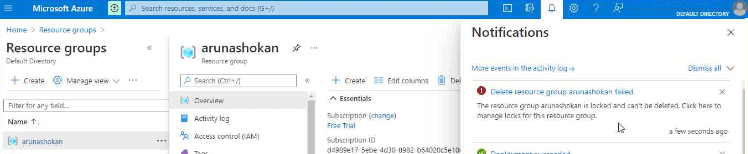 Azure Resource Locking Options available | Step by Step guide to create delete understand their behavior 19