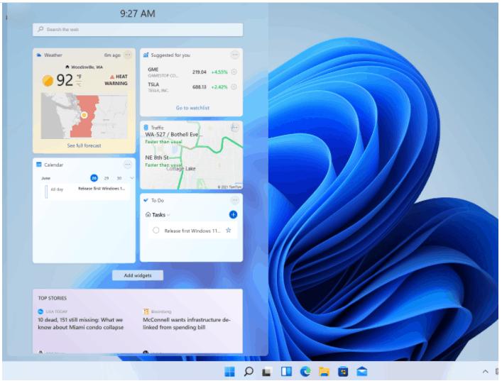 Windows key + W keyboard shortcut - Open the Widgets interface