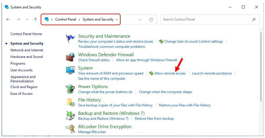 Allow remote access - Windows 11