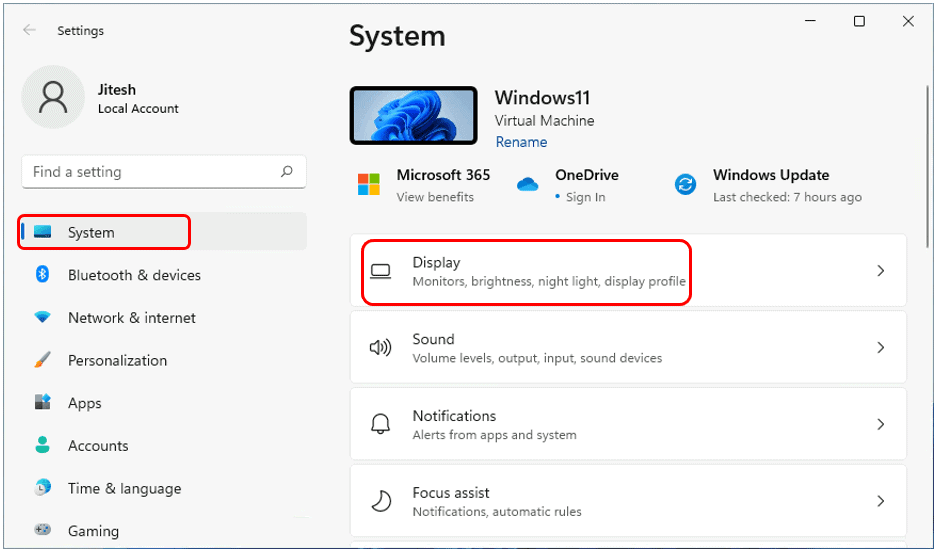 Select System > Display