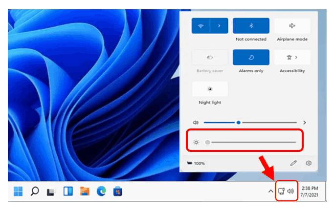Quick Settings Windows 11 - Brightness