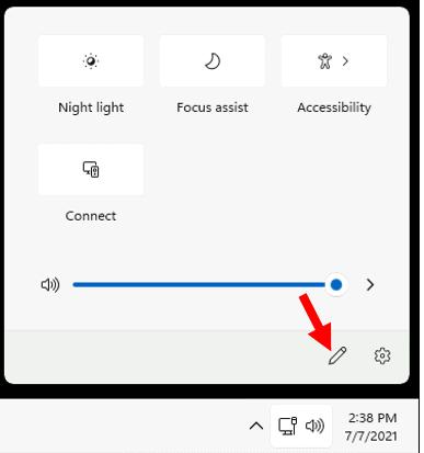 Open Windows 11 Quick Settings