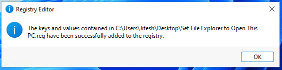Set File Explorer to open This PC instead of Quick Access - Windows 11