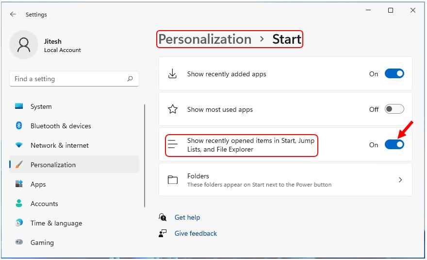 Hide Recently Opened Files Folders from Start File Explorer in Windows 11