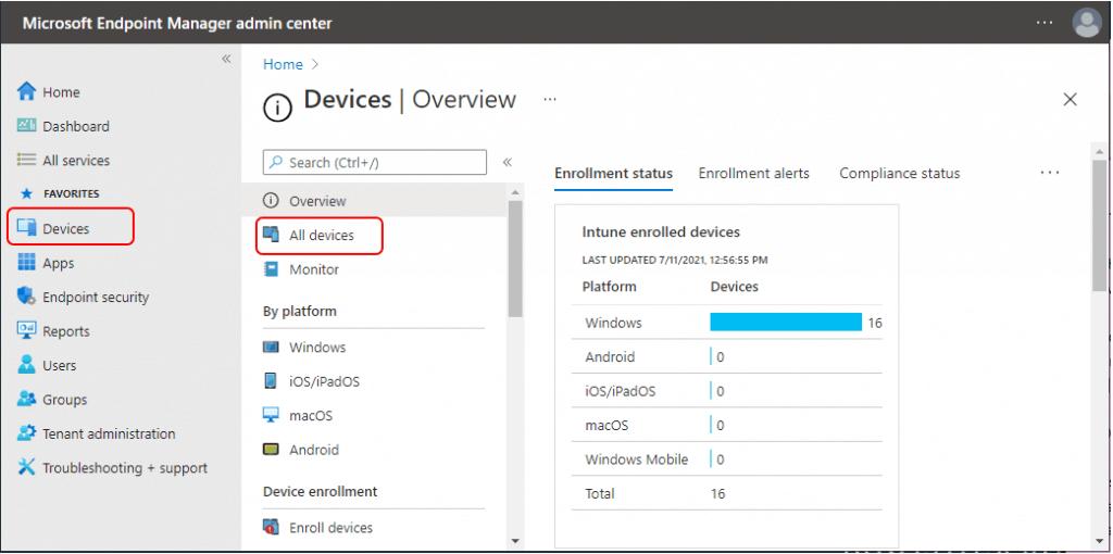 MEM Admin Center - All Devices
