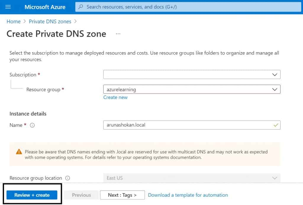 Create Private DNS Zones in Azure | step-by-step guide 2