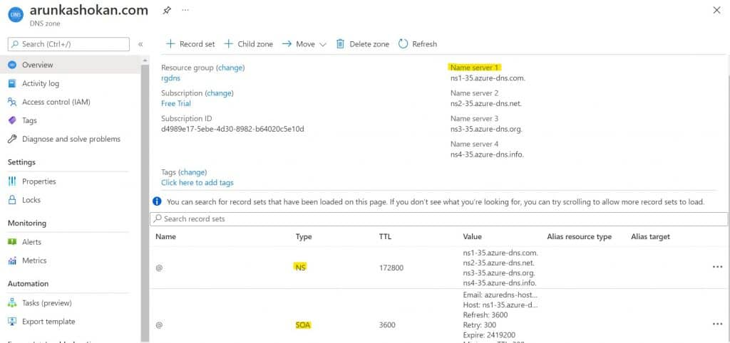 Create Azure DNS Zones step-by-step guide