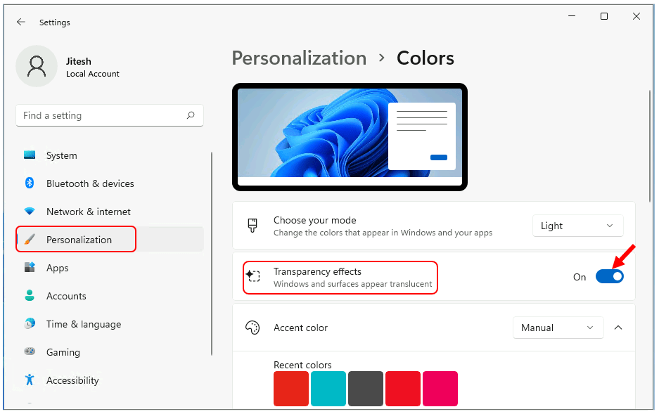 Turn On or Off Transparency in Windows 11