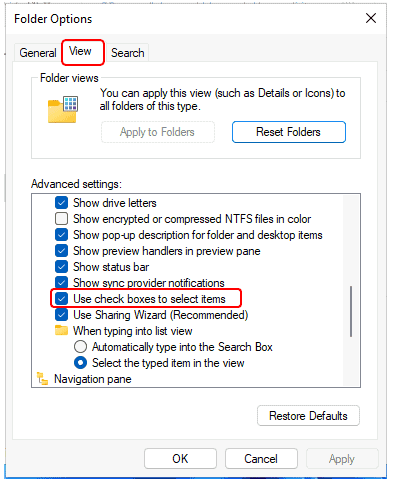 Windows 11 - Folder Options > View