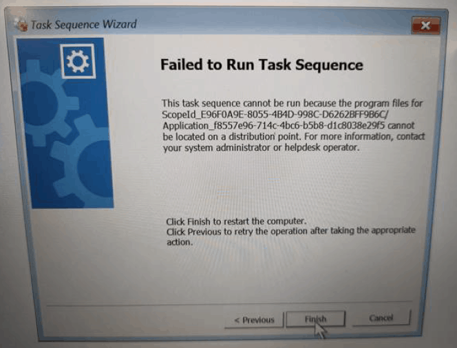 SCCM Deployment Failed to Resolve Task Sequence Dependencies 0X80040102