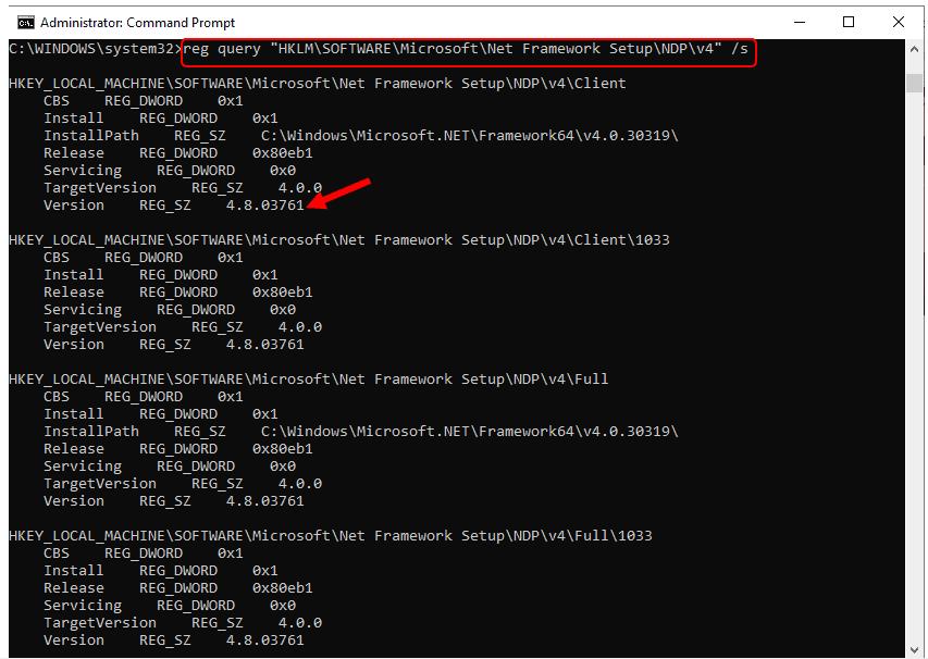 Check Dot NET Framework Version
