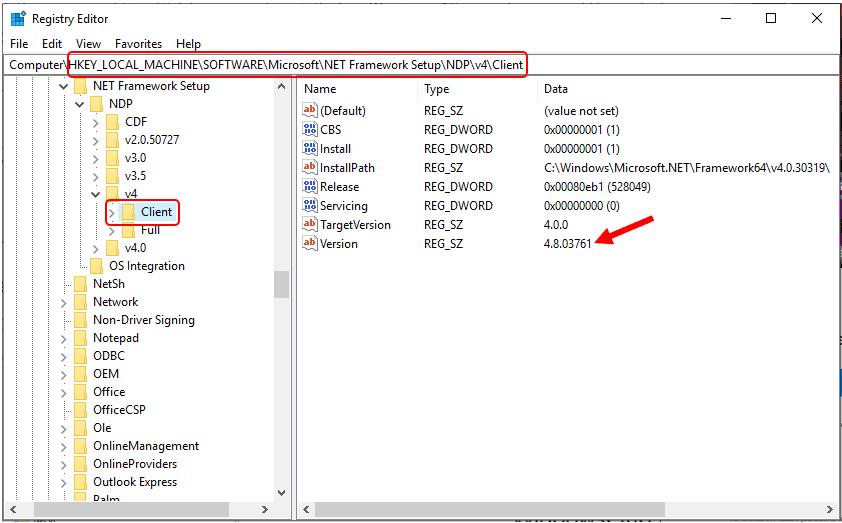 Quickly Check Dot NET Framework Version 1